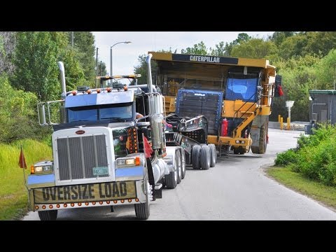 Caterpillar 777 Mining Haul Truck Transported by 11 Axle Lowboy