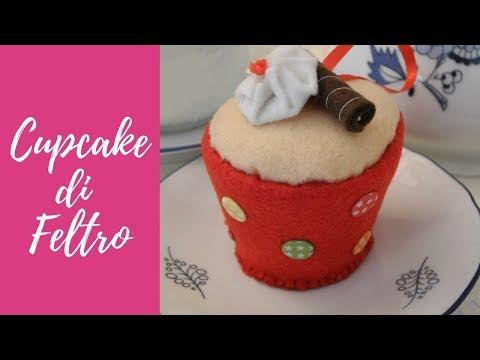 Tutorial Cupcake in feltro e pannolenci felt cupcake eng sub