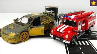 Машинки из Китая Пожарная машинка ЗИЛ 130 и Раллийная Субару Импреза