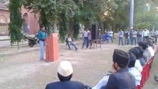 Mushtaq Ahmad AMU  Student Leader Adressing students at S S Hall North AMU  Aligarh