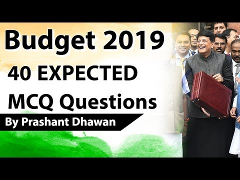 Budget 2019 40 EXPECTED MCQ Questions Current Affairs 2019 Union Budget 2019 20 by Study IQ