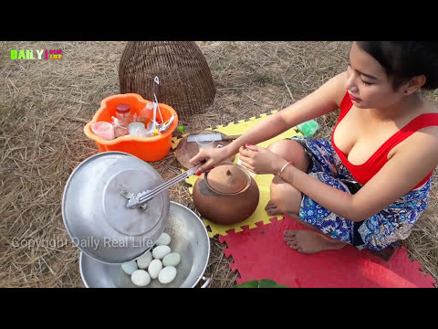 Beautiful girl Cooking Duck Balut fry with Flours Recipe Style - Enjoy Village food in my Country
