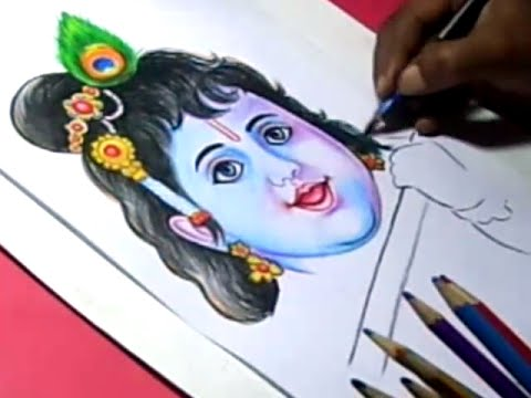 How to Lord Little Krishna Drawing for Kids