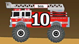 Monster Trucks Fire Trucks Teach Kids Counting & Numbers Preschool Educational Video for Toddlers