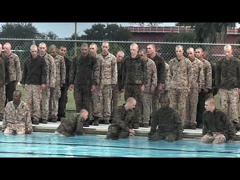 watch US Marines Recruits Attempt Swim Qualification