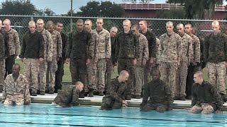 US Marines Recruits Attempt Swim Qualification