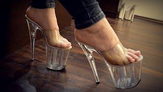 8 inch clear high heels