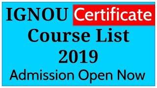 Ignou Certificate Course List 2019 | Ignou Admission 2019 |