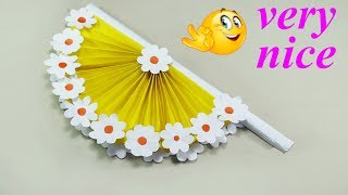 DIY paper craft | how to make diy hand fan out of color papers | DIY arts and crafts