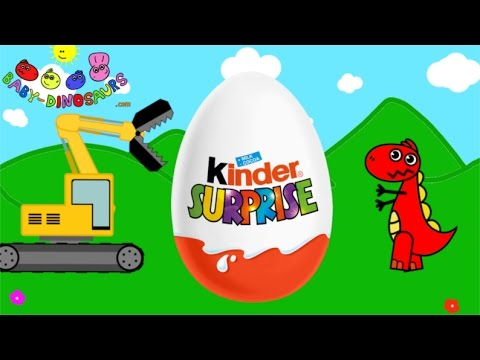 Surprise Eggs and Excavator and T-rex | Dinosaurs for Children