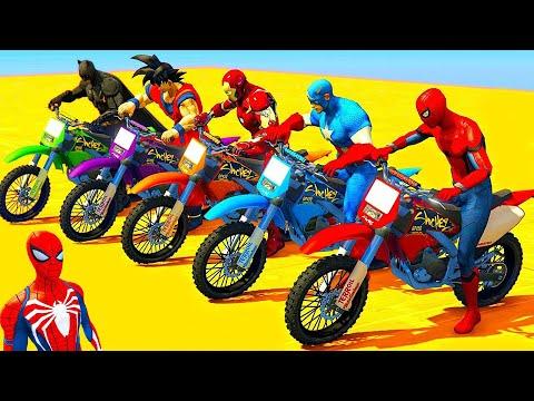 HOMEM ARANHA CRAZY JAKE BATMAN com SUPER MOTOS e HERÓIS Desafio Spiderman Jump HULK ARMY GTA V