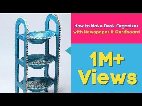 Xxx Mp4 How To Make Desk Organizer With Newspaper Cardboard Waste Material Craft DIY Utility Stand 3gp Sex