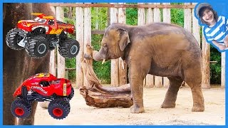 Monster Trucks Visit Zoo Animals for Children!