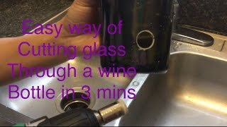 wine bottle craft I How to drill hole through glass bottle in 3 mins I วิธีเจาะขวดไวน์