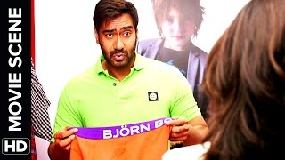 Sonakshi see's Ajay Devgn's Singham | Action Jackson | Movie Scene