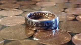 Step 3 How to make a double sided clad quarter coin ring - sizing