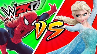 SPIDERMAN Vs ELSA | WWE 2K17 Funny Moments, Frozen Elsa and Spiderman Homecoming