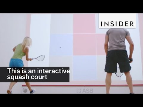 This interactive squash court is a