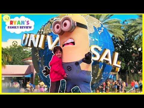 Despicable Me Minion Toy Hunts at Minions Hotel Universal Studio + Amusement Rides Kids Pool Play