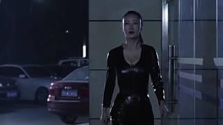 Daniella Wang (Li Dan Wang) in Leather Walking and Jiggling