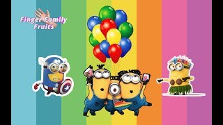 Minions Popping Balloon Colors Finger Family Nursery Rhymes for children