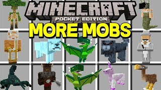 Minecraft MORE MOBS MOD!   50+ NEW MOBS, DRAGONS, GOD, PETS, & MORE!   (Minecraft PE MODS)