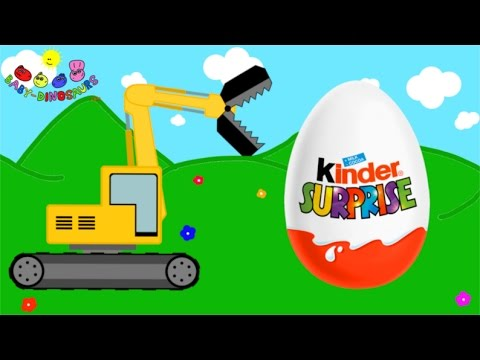 Surprise Eggs and Excavator Dinosaurs for Children