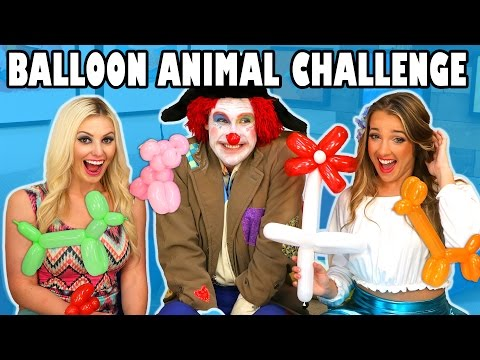 Balloon Challenge Jenn vs Margeaux with Smoochie the Clown. Totally TV