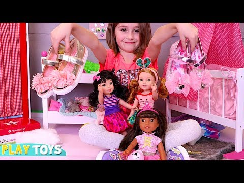 Xxx Mp4 Cute Little Girl Playing American Girl Dolls Wellie Wishers Kids Magical Shoes By Play Toys S 3gp Sex