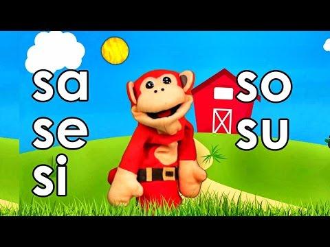 Sílabas sa se si so su El Mono Sílabo Videos Infantiles Educación para Niños