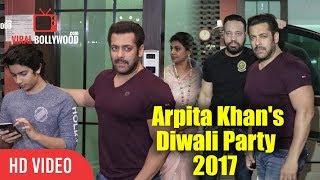Salman Khan At Arpita Khan's Diwali Party 2017 | Bhaijaan Salman At Sister Arpita's Diwali Party