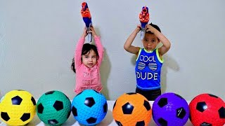 Learn Colors with Soccer Ball and Mini Nerf Toy Play Time