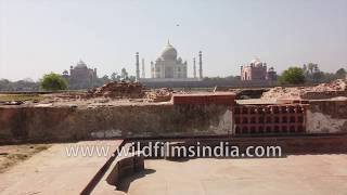 Agra's Taj Mahal complex seen from across the dry Yamuna riverbed