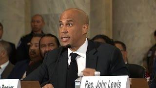 US Senator Corey Booker testifies against Trump pick Sessions
