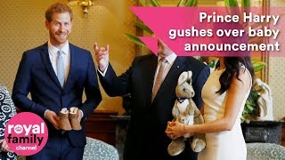 Prince Harry gushes over baby announcement