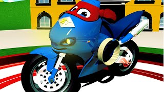 The MOTOR BIKE TRUCK - Carl the Super Truck in Car City | Motorbike Cartoons for Children