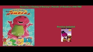 Barney's Parade of Numbers Rare 1998 VHS Opening & Closing
