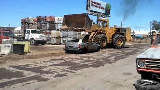 Car CRUSHeD by large loader!!(landfillchronicles)*