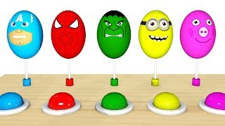 Color for Children to Learn w Surprise Eggs - Superheroes for Babies Cars Learning Video