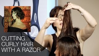 How to Cut Curly Hair w/a Feather Styling Razor