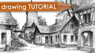 """DRAWING TUTORIAL - how to draw architecture in perspective (""""Village"""")"""