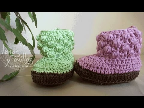 Tutorial Botas Bebe Crochet o Ganchillo Baby booties english sub