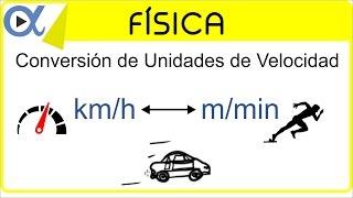 Conversión de unidades de velocidad km/h a m/min y m/min a km/h