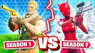 SEASON 1 vs SEASON 7 CHALLENGE *NEW* Game Mode in Fortnite Battle Royale