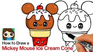 How to Draw a Mickey Mouse Ice Cream Cone
