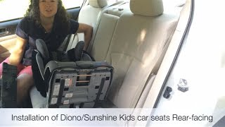 How to Install a Diono car seat rear-facing (LATCH + rear-facing tether)
