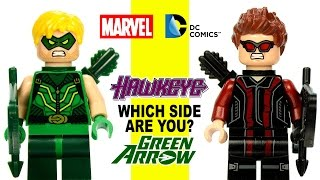 LEGO® Green Arrow vs Hawkeye Minifigures Marvel vs DC Super Heroes Which Side Are You On?