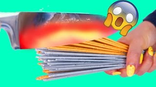 1000 DEGREE GLOWING KNIFE VS. 168+ SPARKLERS!!