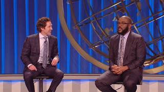Tyler Perry talks with Joel Osteen at Lakewood Church