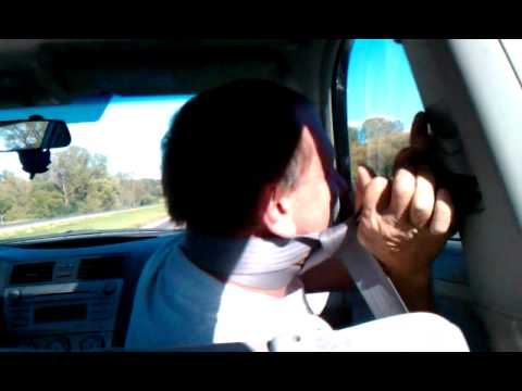 Idiot Gets Stuck In Seat Belt.